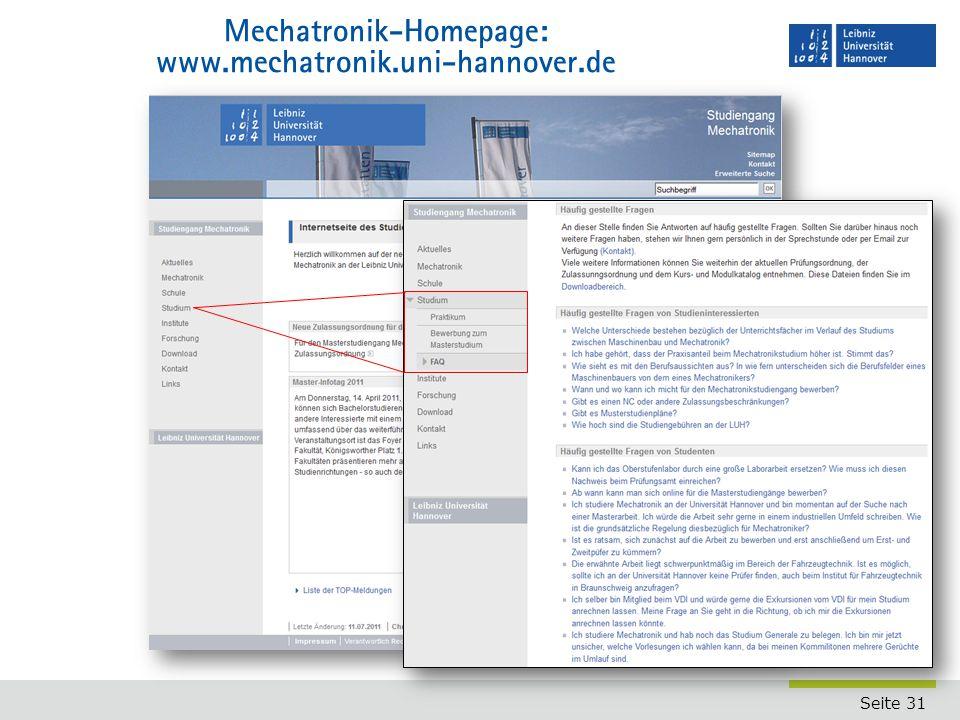 Mechatronik-Homepage: www.mechatronik.uni-hannover.de
