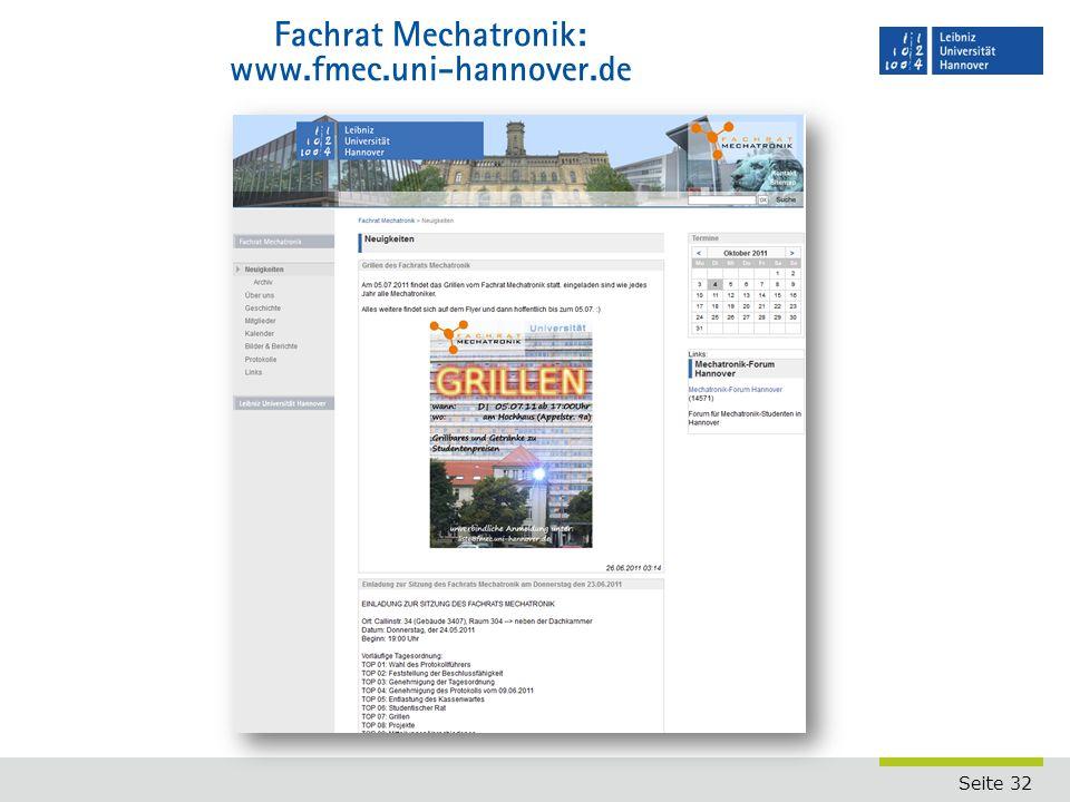 Fachrat Mechatronik: www.fmec.uni-hannover.de