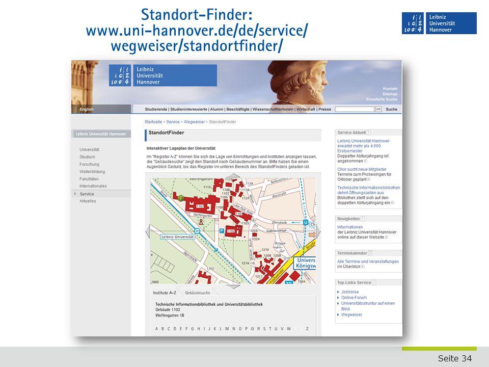 Standort-Finder: www. uni-hannover