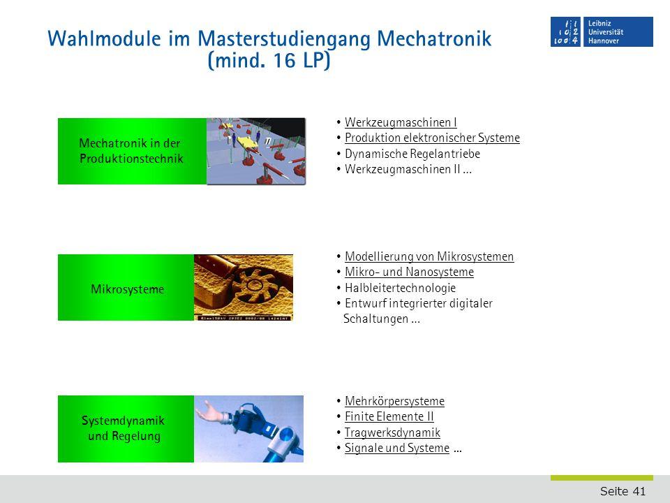 Wahlmodule im Masterstudiengang Mechatronik (mind. 16 LP)