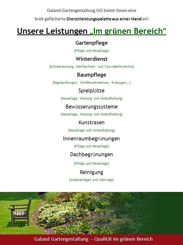 """Unsere Leistungen """"Im grünen Bereich"""