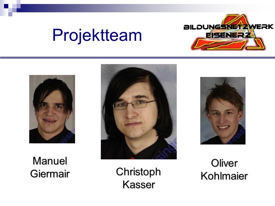 Projektteam Manuel Giermair Oliver Kohlmaier Christoph Kasser