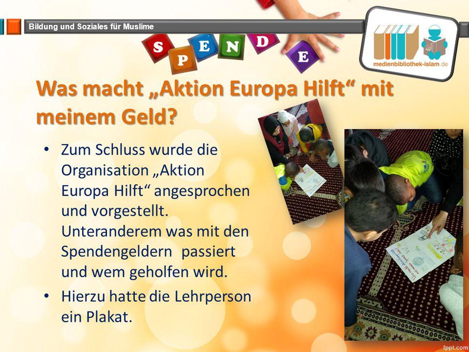 """Was macht """"Aktion Europa Hilft mit meinem Geld"""