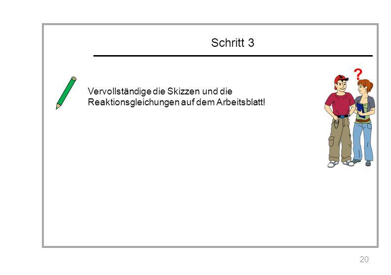 Schritt 3 Vervollständige die Skizzen und die Reaktionsgleichungen auf dem Arbeitsblatt!