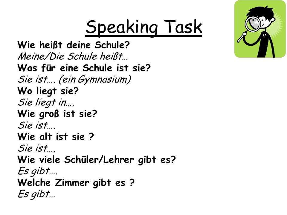 Speaking Task Wie heißt deine Schule Meine/Die Schule heißt…