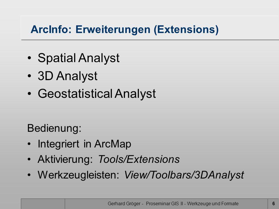 ArcInfo: Erweiterungen (Extensions)