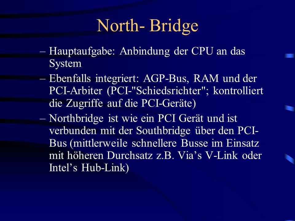 North- Bridge Hauptaufgabe: Anbindung der CPU an das System