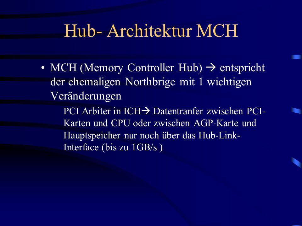 Hub- Architektur MCH MCH (Memory Controller Hub)  entspricht der ehemaligen Northbrige mit 1 wichtigen Veränderungen.