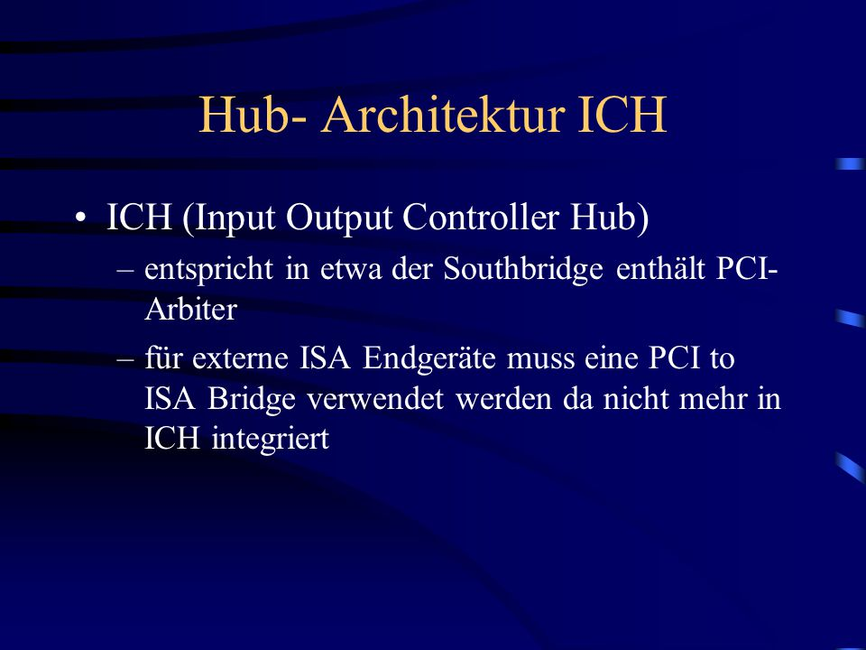 Hub- Architektur ICH ICH (Input Output Controller Hub)