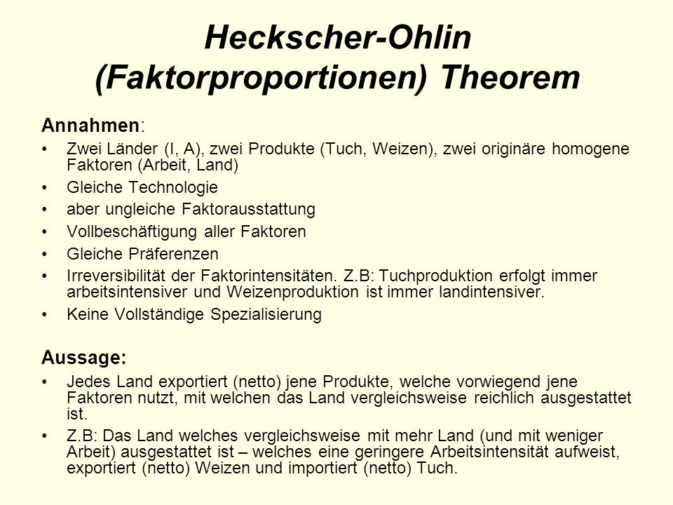 Heckscher-Ohlin (Faktorproportionen) Theorem