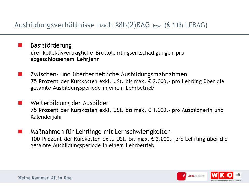Ausbildungsverhältnisse nach §8b(2)BAG bzw. (§ 11b LFBAG)
