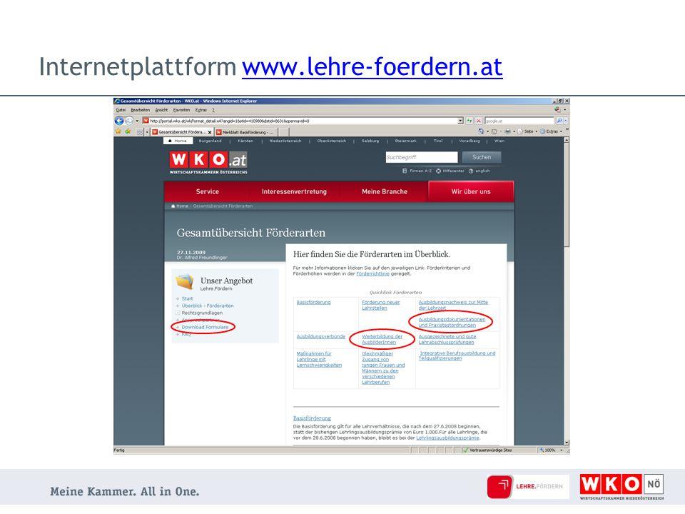Internetplattform www.lehre-foerdern.at