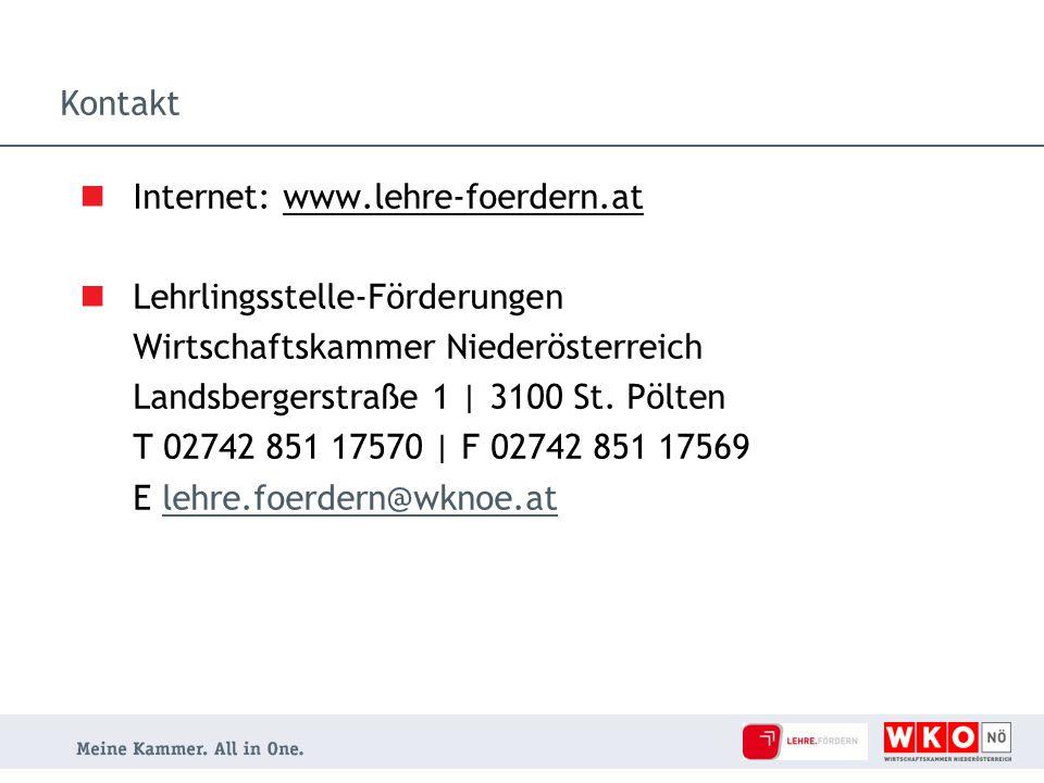 Kontakt Internet: www.lehre-foerdern.at. Lehrlingsstelle-Förderungen. Wirtschaftskammer Niederösterreich.