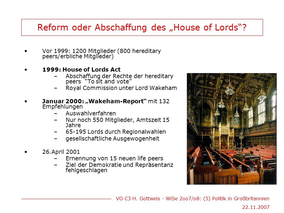 "Reform oder Abschaffung des ""House of Lords"