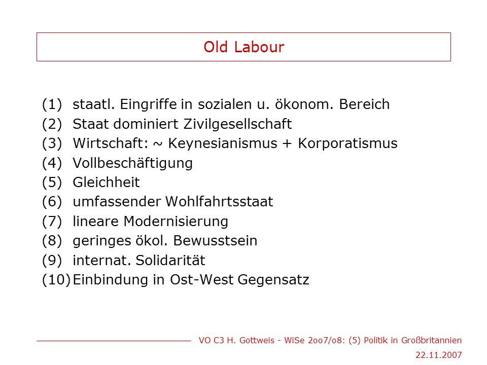 Old Labour staatl. Eingriffe in sozialen u. ökonom. Bereich