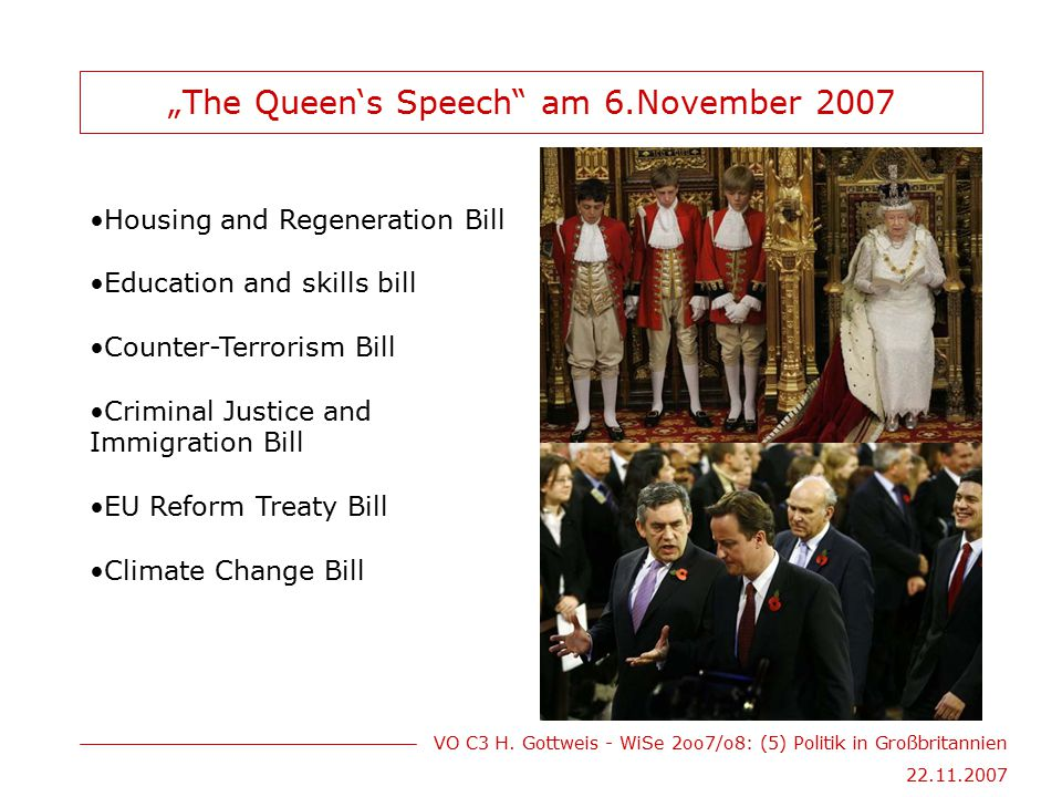 """The Queen's Speech am 6.November 2007"