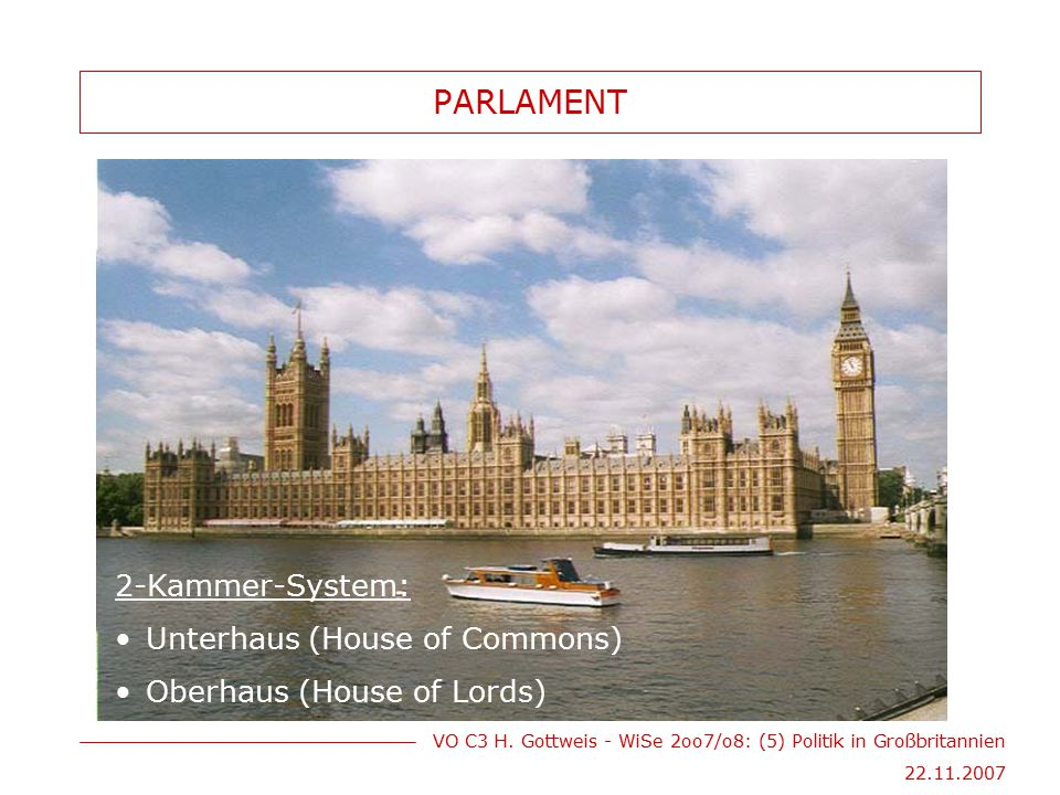 PARLAMENT 2-Kammer-System: Unterhaus (House of Commons)