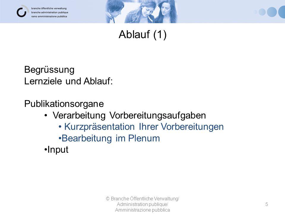 Ablauf (1) Begrüssung Lernziele und Ablauf: Publikationsorgane