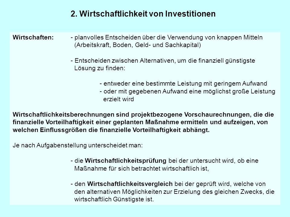 2. Wirtschaftlichkeit von Investitionen