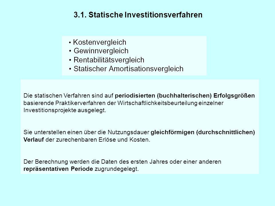 3.1. Statische Investitionsverfahren