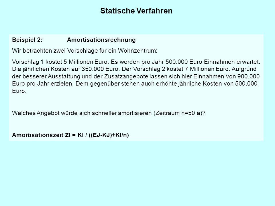 Statische Verfahren Beispiel 2: Amortisationsrechnung