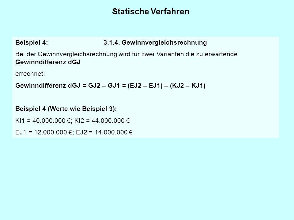 Statische Verfahren Beispiel 4: 3.1.4. Gewinnvergleichsrechnung