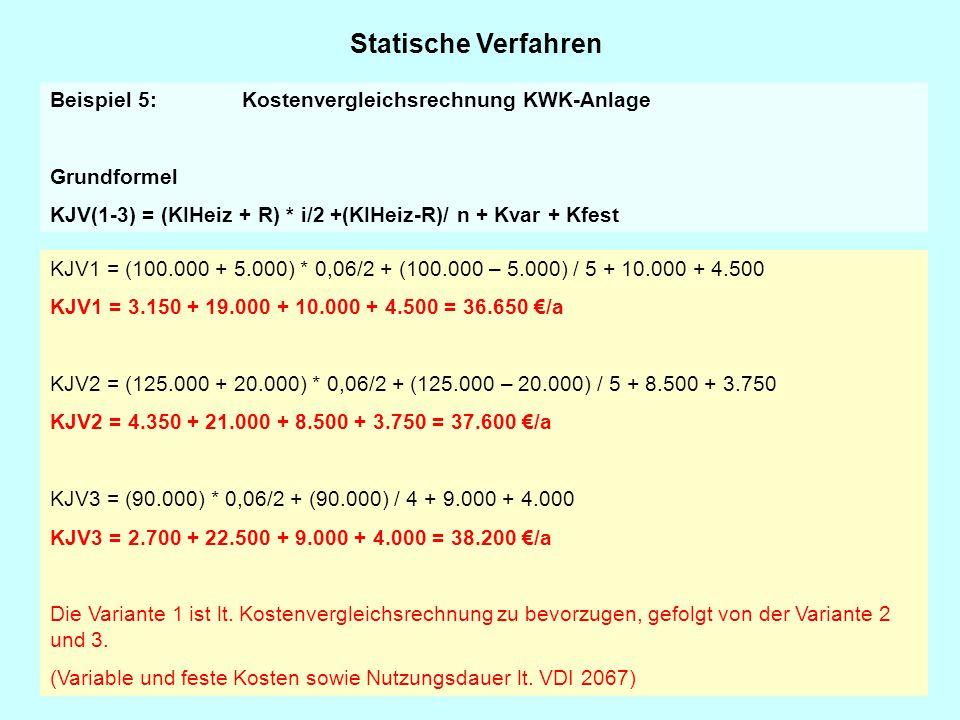 Statische Verfahren Beispiel 5: Kostenvergleichsrechnung KWK-Anlage