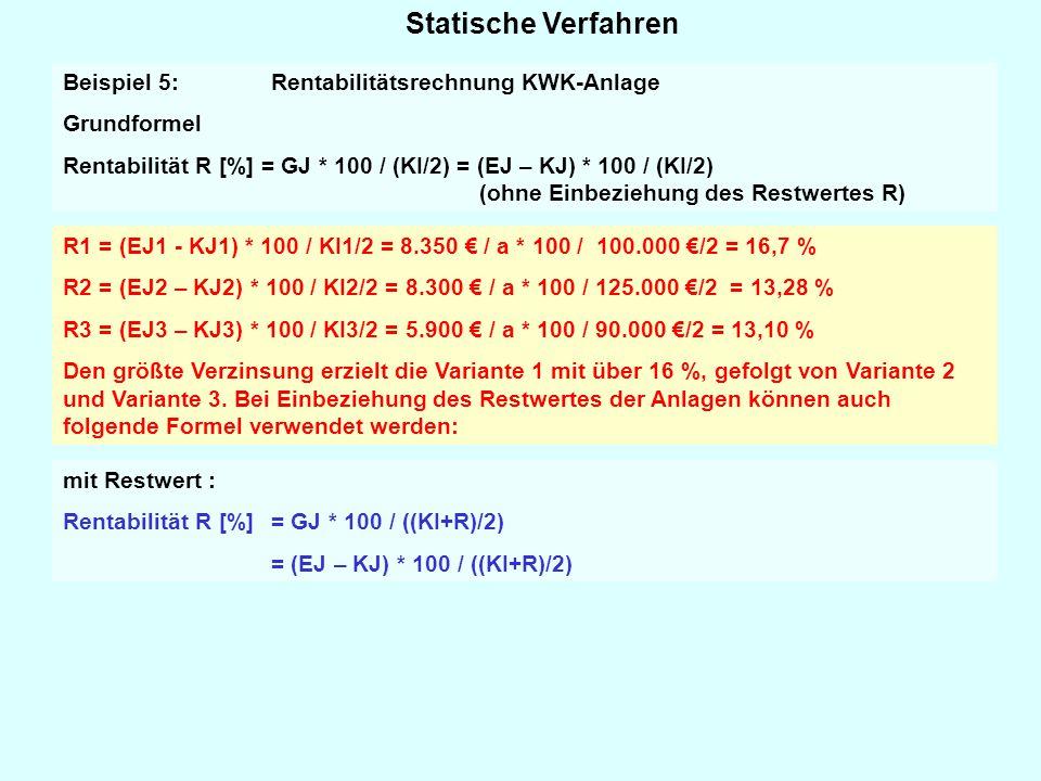 Statische Verfahren Beispiel 5: Rentabilitätsrechnung KWK-Anlage