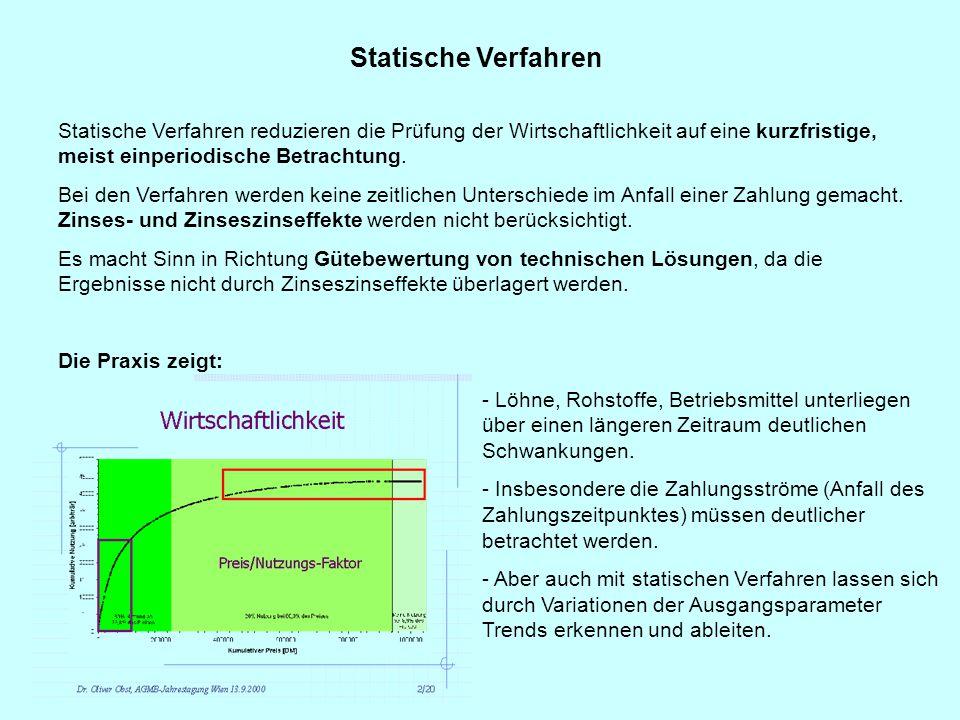 Statische Verfahren Statische Verfahren reduzieren die Prüfung der Wirtschaftlichkeit auf eine kurzfristige, meist einperiodische Betrachtung.