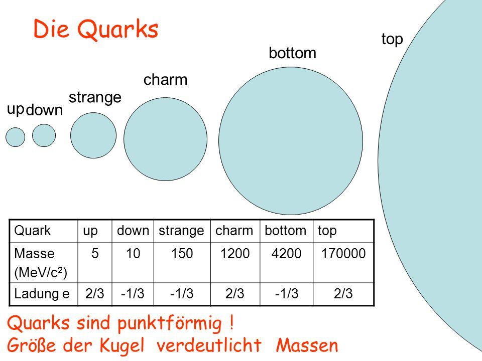 Die Quarks Quarks sind punktförmig !