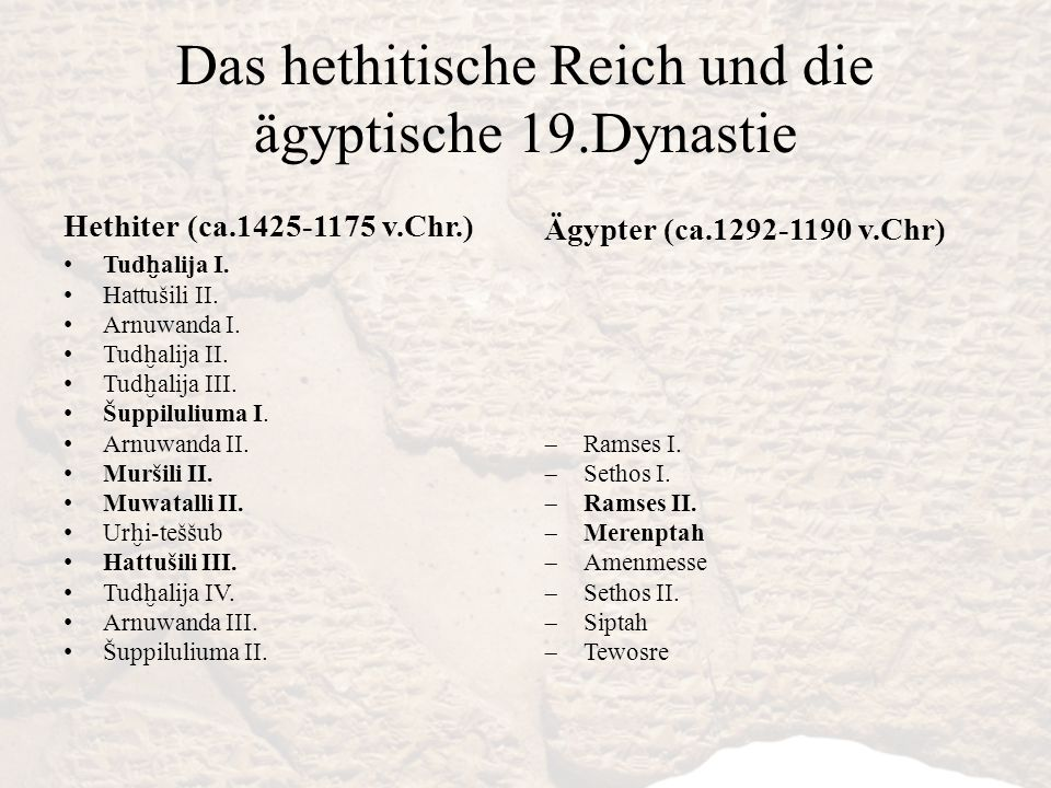 Das hethitische Reich und die ägyptische 19.Dynastie