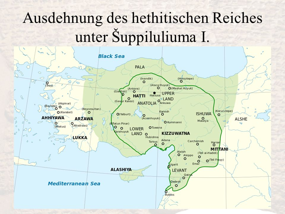Ausdehnung des hethitischen Reiches unter Šuppiluliuma I.