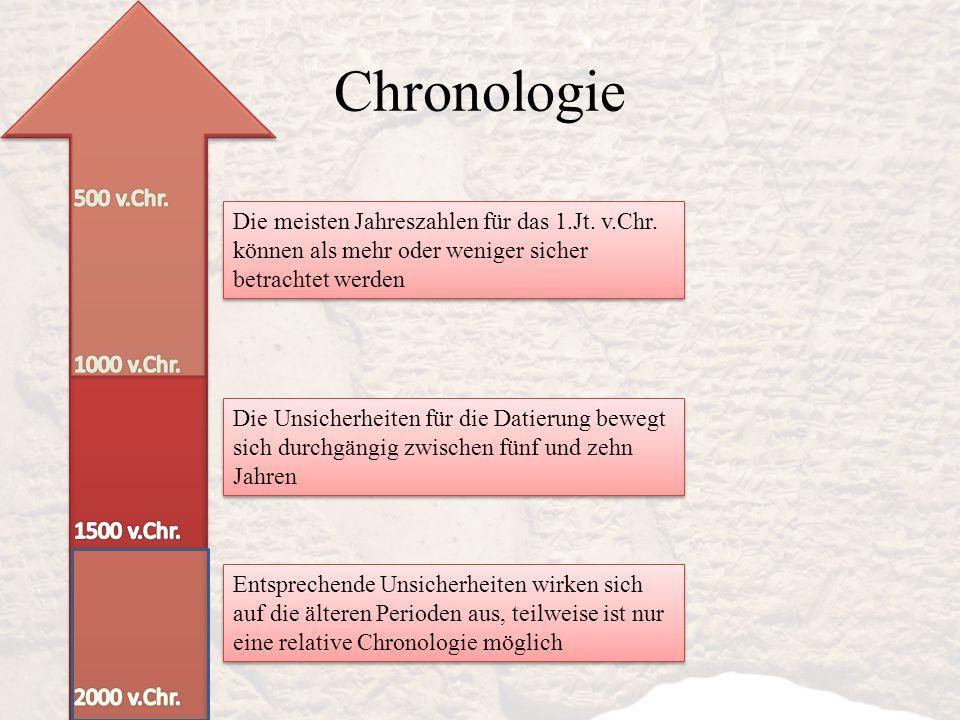 Chronologie 500 v.Chr. Die meisten Jahreszahlen für das 1.Jt. v.Chr. können als mehr oder weniger sicher betrachtet werden.