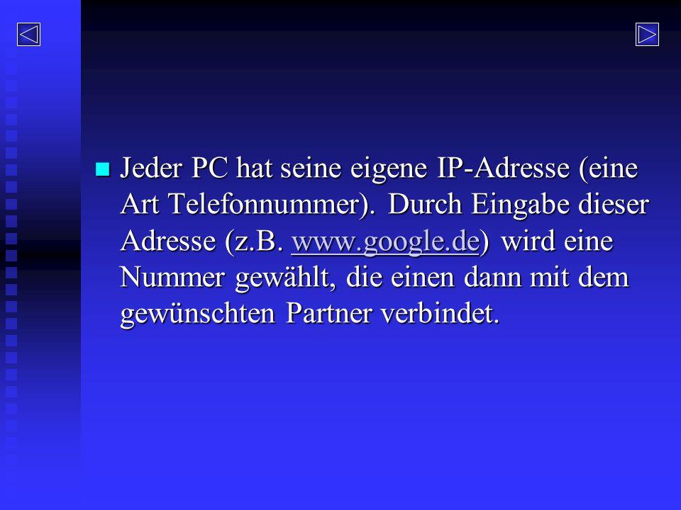 Jeder PC hat seine eigene IP-Adresse (eine Art Telefonnummer)