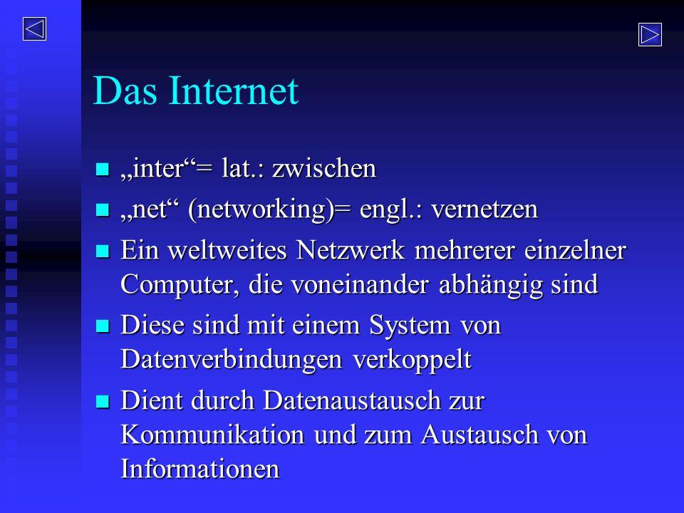 """Das Internet """"inter = lat.: zwischen"""