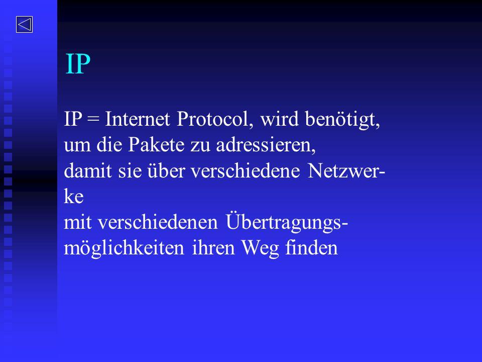 IP IP = Internet Protocol, wird benötigt,