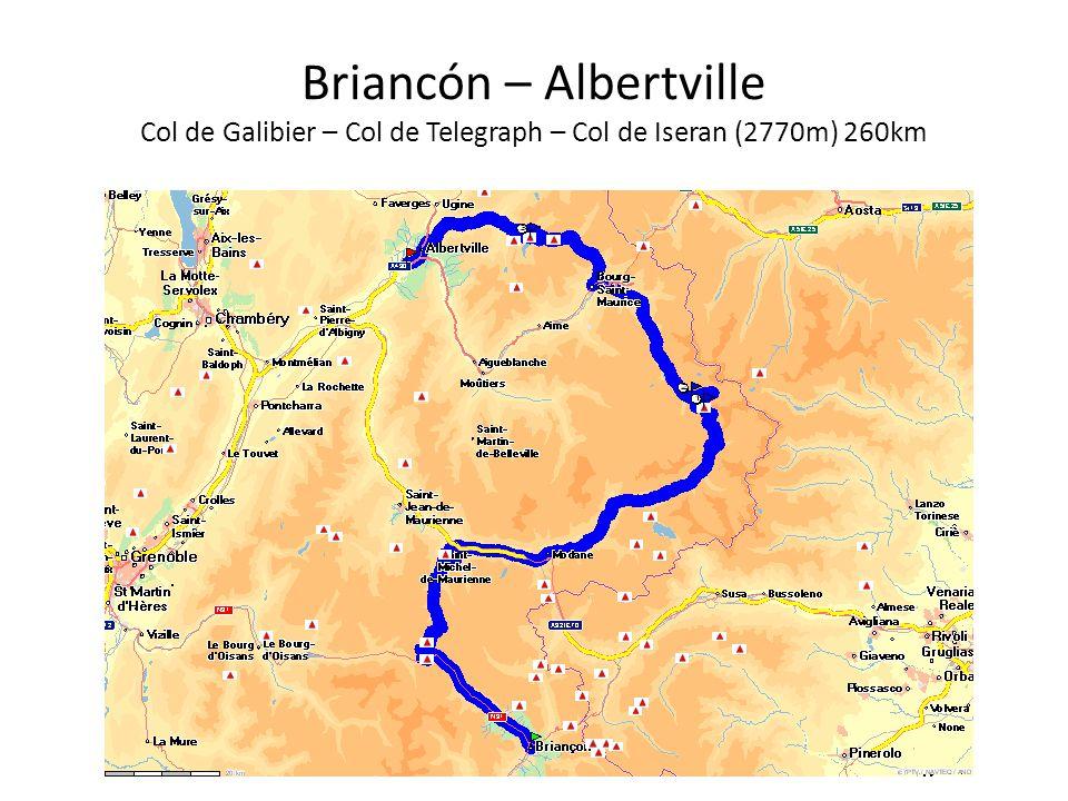 Briancón – Albertville Col de Galibier – Col de Telegraph – Col de Iseran (2770m) 260km