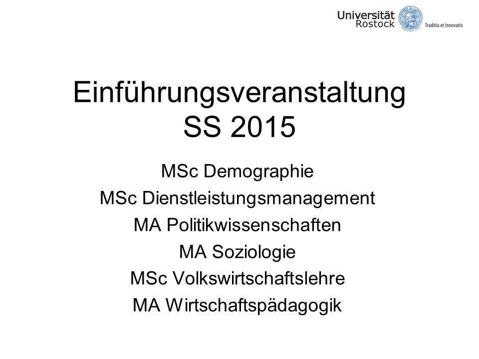 Einführungsveranstaltung SS 2015