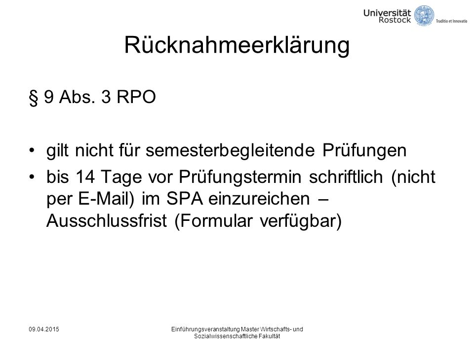 Rücknahmeerklärung § 9 Abs. 3 RPO