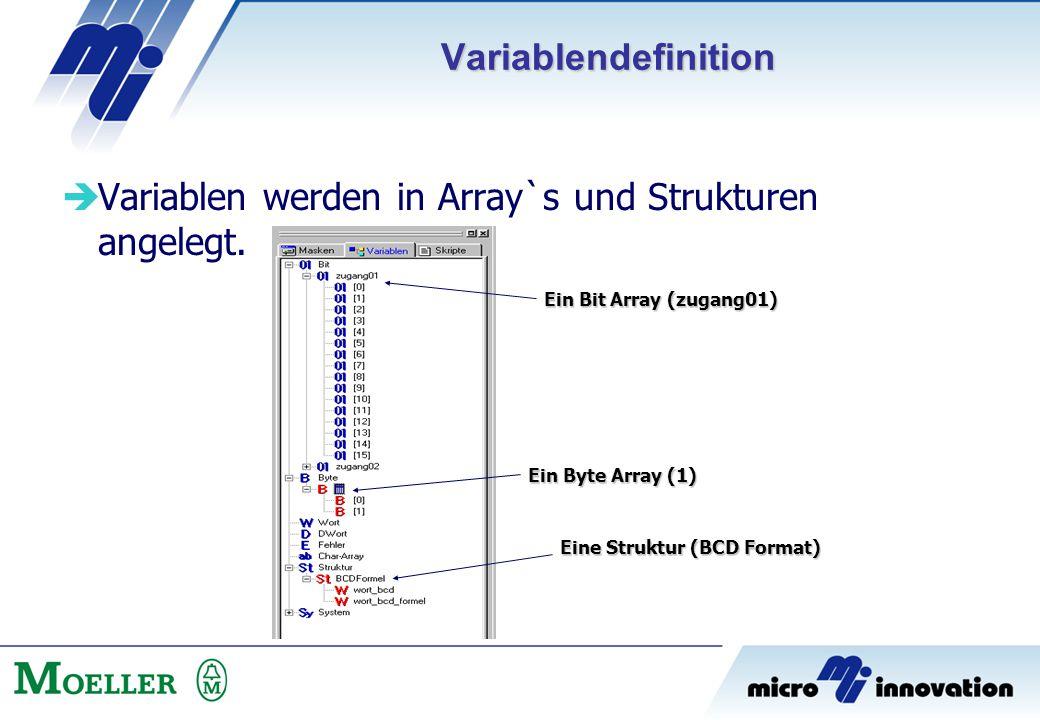 Variablen werden in Array`s und Strukturen angelegt.