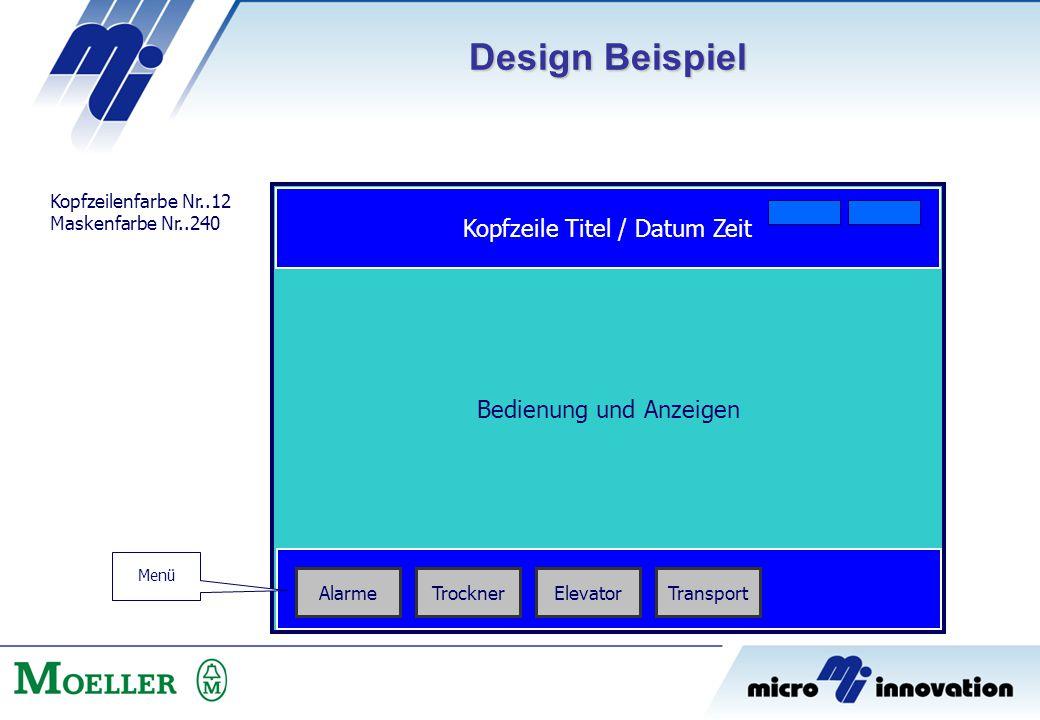 Design Beispiel Kopfzeile Titel / Datum Zeit Bedienung und Anzeigen