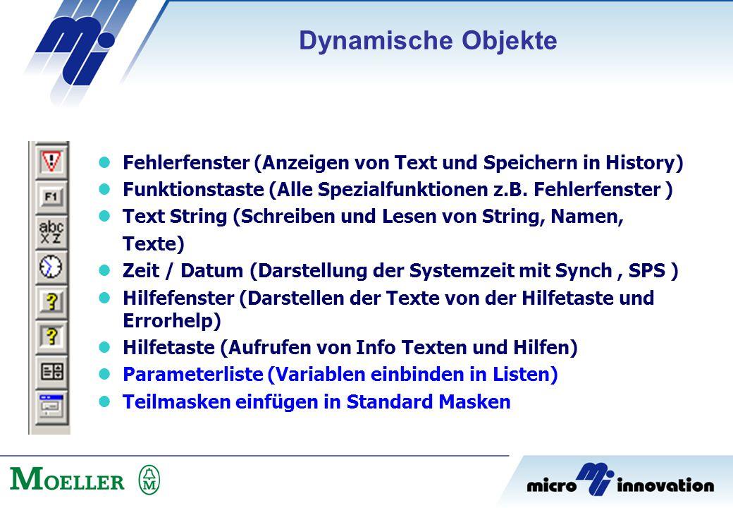 Dynamische Objekte Fehlerfenster (Anzeigen von Text und Speichern in History) Funktionstaste (Alle Spezialfunktionen z.B. Fehlerfenster )
