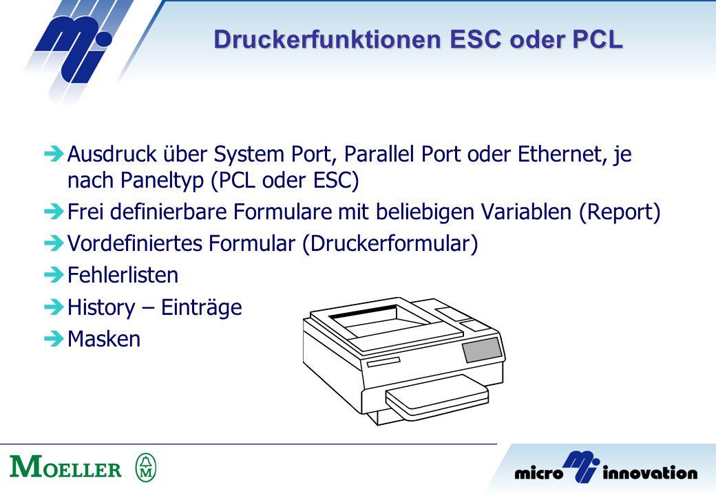 Druckerfunktionen ESC oder PCL