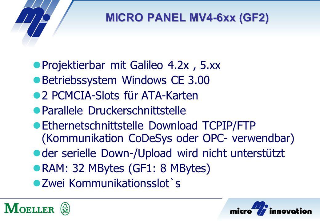 MICRO PANEL MV4-6xx (GF2) Projektierbar mit Galileo 4.2x , 5.xx. Betriebssystem Windows CE 3.00. 2 PCMCIA-Slots für ATA-Karten.