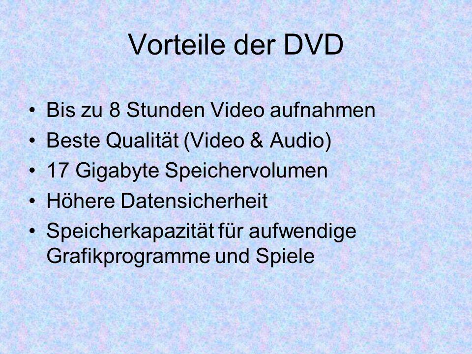 Vorteile der DVD Bis zu 8 Stunden Video aufnahmen