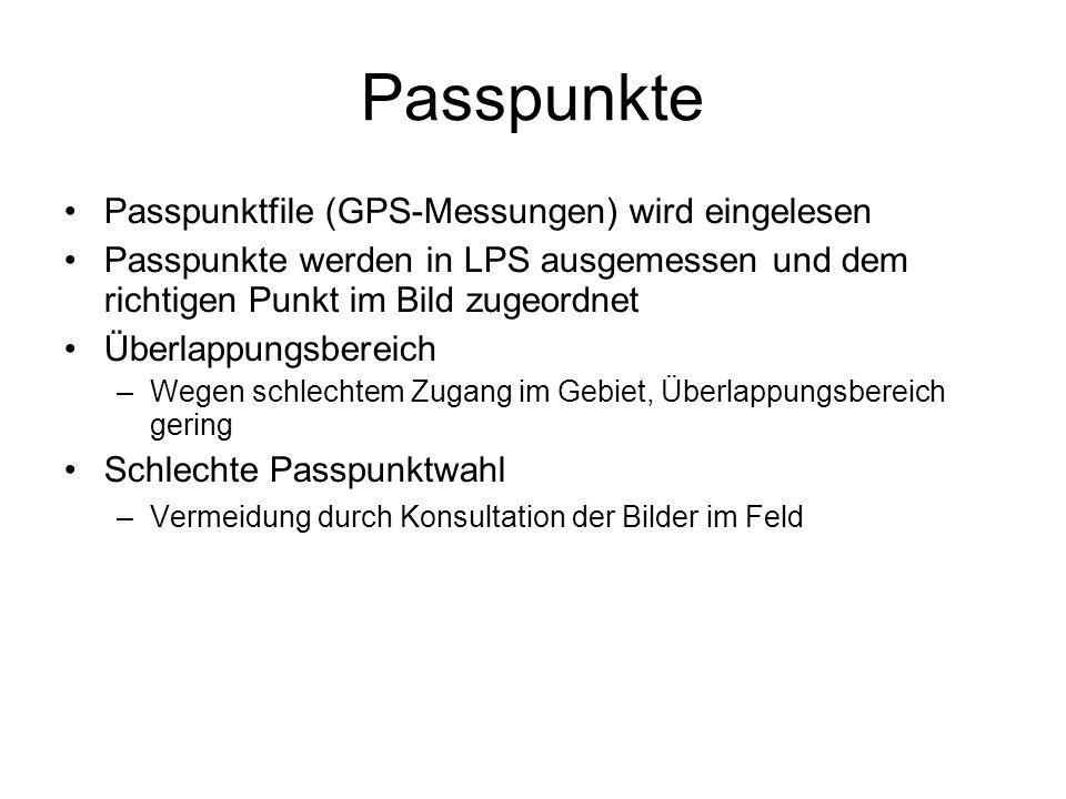 Passpunkte Passpunktfile (GPS-Messungen) wird eingelesen