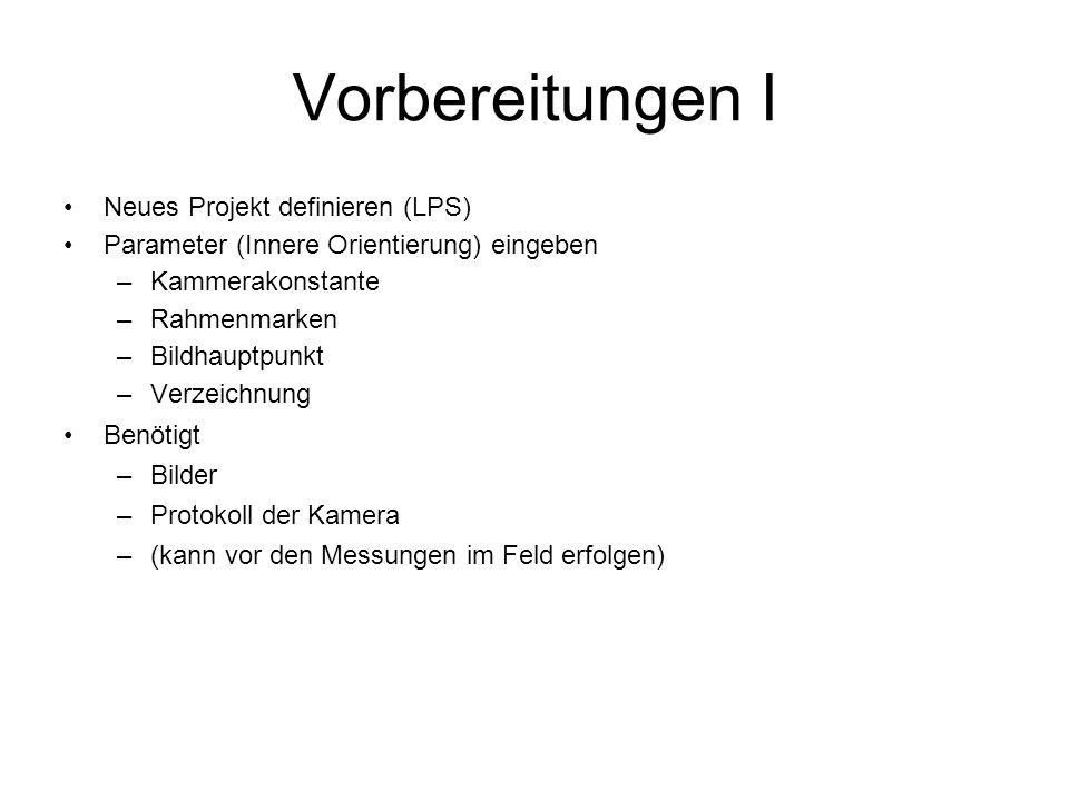 Vorbereitungen I Neues Projekt definieren (LPS)