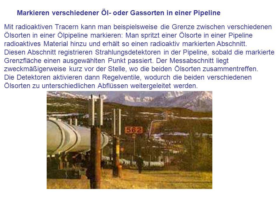 Markieren verschiedener Öl- oder Gassorten in einer Pipeline