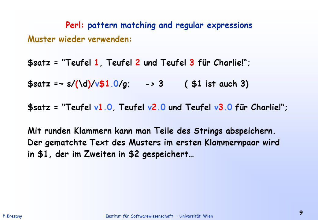 Perl: pattern matching and regular expressions