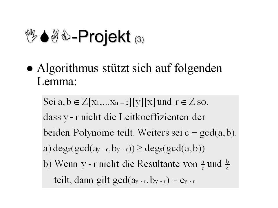 ISAC-Projekt (3) Algorithmus stützt sich auf folgenden Lemma: